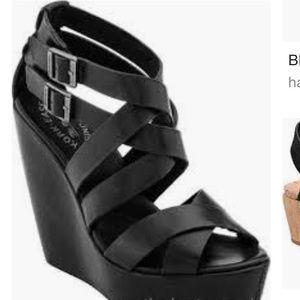 Kork-ease black wedge sandals